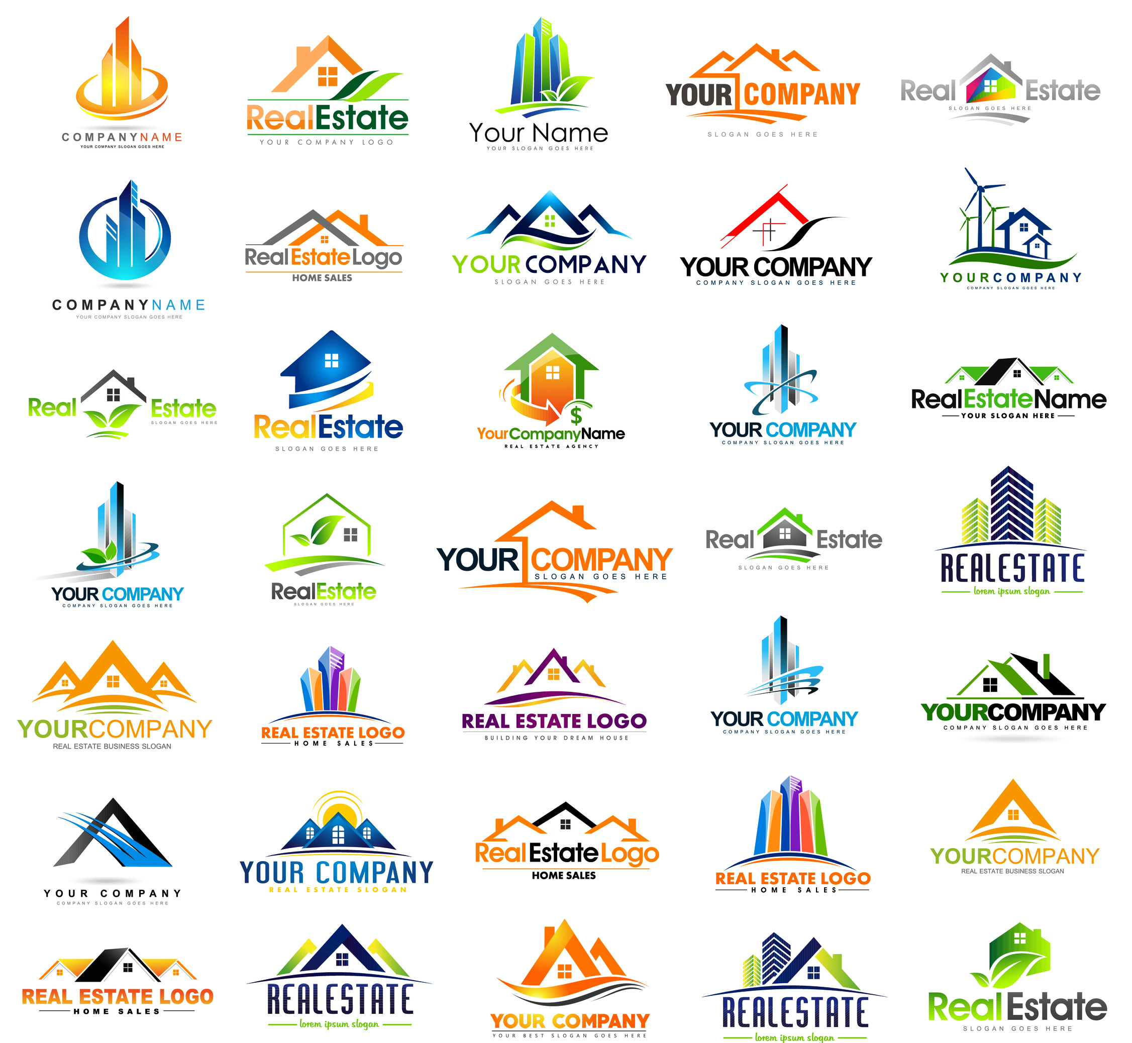 Real Estate Design. House Design. Creative Real Estate Vector Icons collection.